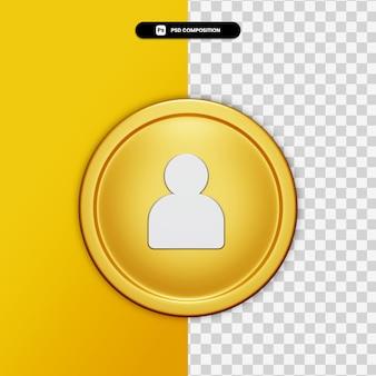 Значок профиля 3d рендеринга на золотом круге изолированы