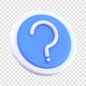 3d rendering of question mark icon