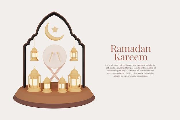 Шаблон поздравительных открыток рамадан карим и ид мубарак в 3d-рендеринге