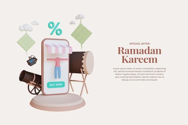 3d 렌더링 라마단 카림 판매 배너 템플릿 프로모션 디자인