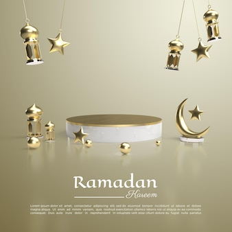 3d rendering of ramadan kareem with podium and lamp for social media