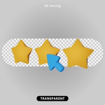 3d rendering rating and star illustration
