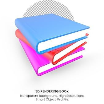 투명 한 배경에 3d 렌더링 현실적인 책 세트