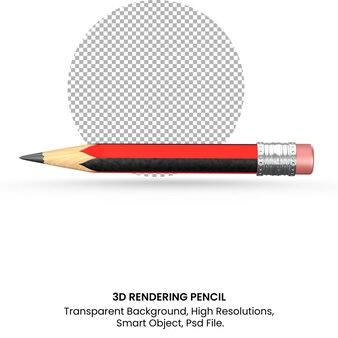 투명 한 배경에 3d 렌더링 현실적인 빨간 연필