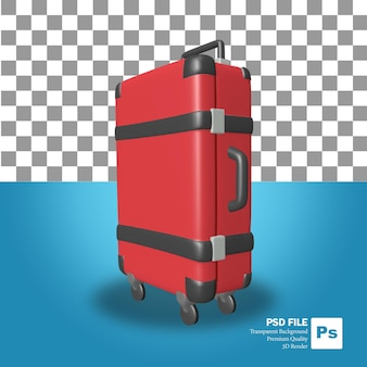 3d rendering of the red box suitcase object