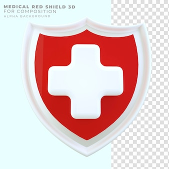 3d 렌더링 빨간 방패 건강