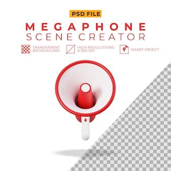 3d rendering of red white megaphone
