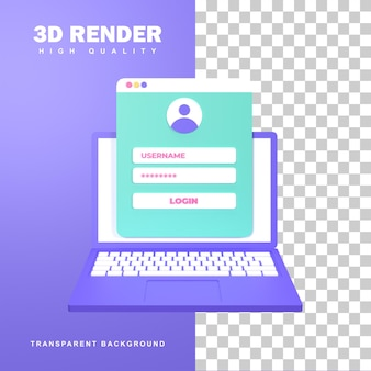3d rendering registration concept by entering username and password.