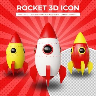 3d 렌더링 로켓 아이콘