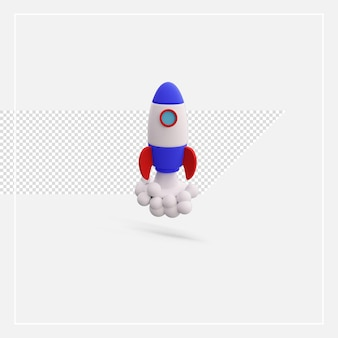 3d rendering rocket isolated