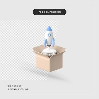 상자 만화에서 3d 렌더링 로켓 발사 프리미엄 PSD 파일