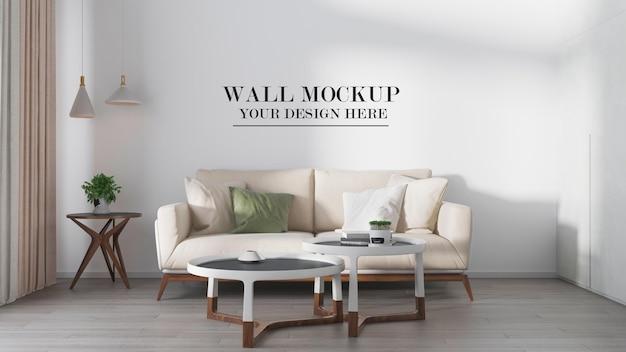 3d rendering room wall mockup