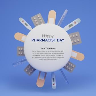 幸せな薬剤師の日のための薬の3dレンダリングの丸い形のデザイン
