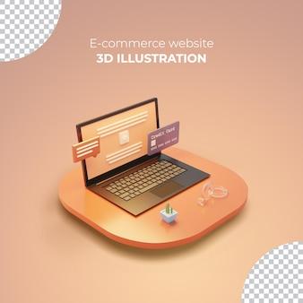 노트북 화면에 3d 전자 상거래 웹 사이트가 있는 3d 렌더링 판매 포스트 템플릿