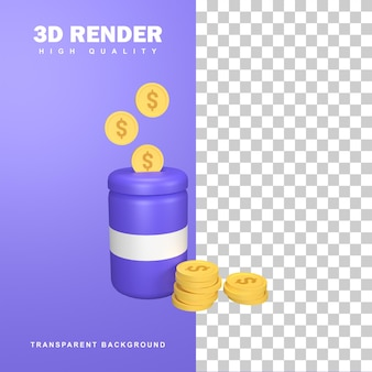 3d визуализация концепция экономии денег со стеклянной банкой.