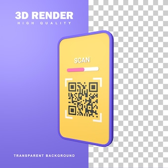 カメラスマートフォンを使用した3dレンダリングスキャンqrコード。