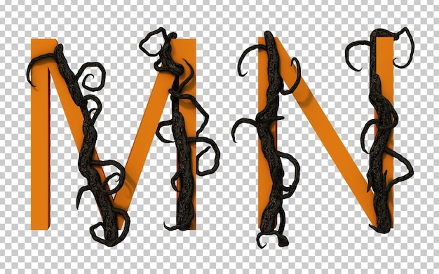 3d rendering of scary branch tree creeping on alphabet m and alphabet n