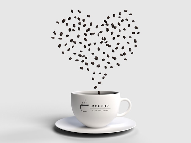 3d rendering scatter coffee seeds  mockup isolated