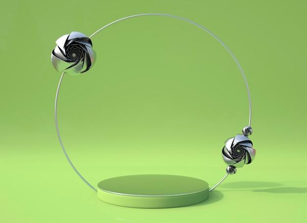 Сцена 3d-рендеринга с розовым цветком и подиумом геометрической формы для демонстрации продукта, минимальная концепция.