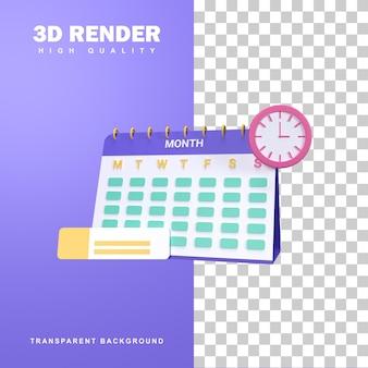 이벤트 계획과 3d 렌더링 일정 개념입니다.