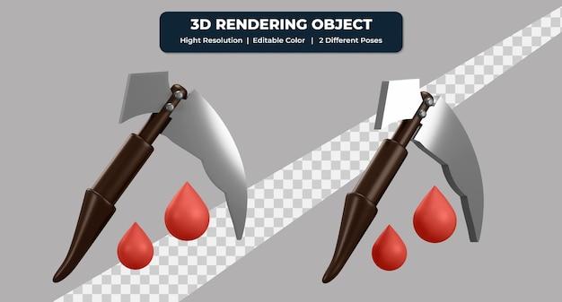 赤い血と2つの異なるポーズで鎌のアイコンをレンダリングする3d