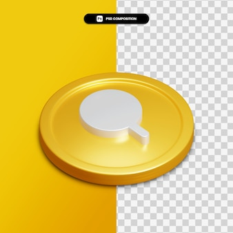 3d rendering search icon on golden circle isolated