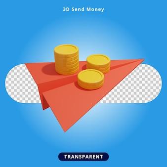 3d визуализация отправить деньги иллюстрация