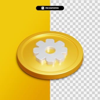 3d rendering setting icon on golden circle isolated