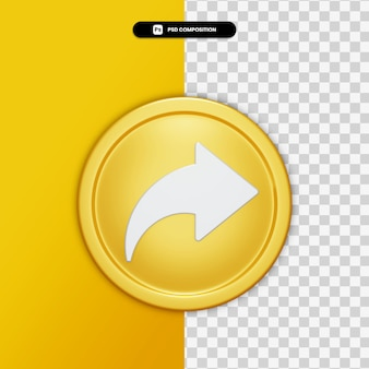 3d rendering share icon on golden circle isolated