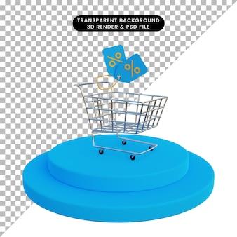 3d rendering shopping cart on podium