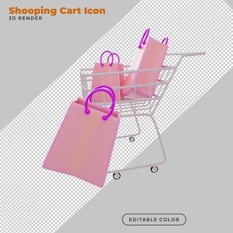 3d rendering shopping cart with gift bag
