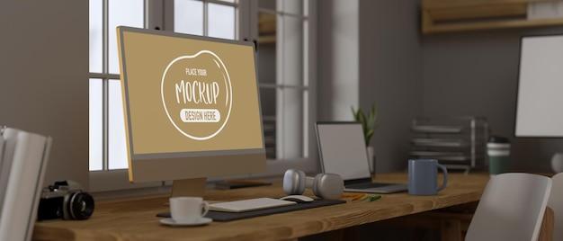 모형 화면이있는 컴퓨터 모니터의 3d 렌더링 측면보기