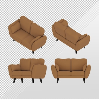 3d rendering of a simple brown sofa from various sides of the orthographic top view