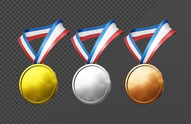 3d 렌더링 간단한 금은 동메달 목걸이 아이콘 투시도
