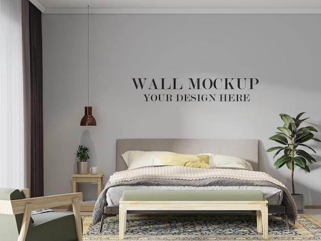 3d рендеринг простой скандинавский шаблон стены спальни