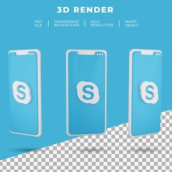 고립 된 스마트 폰의 3d 렌더링 스카이프 로고 프리미엄 PSD 파일