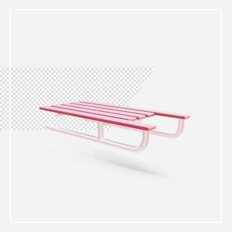 3d rendering sleigh isolated