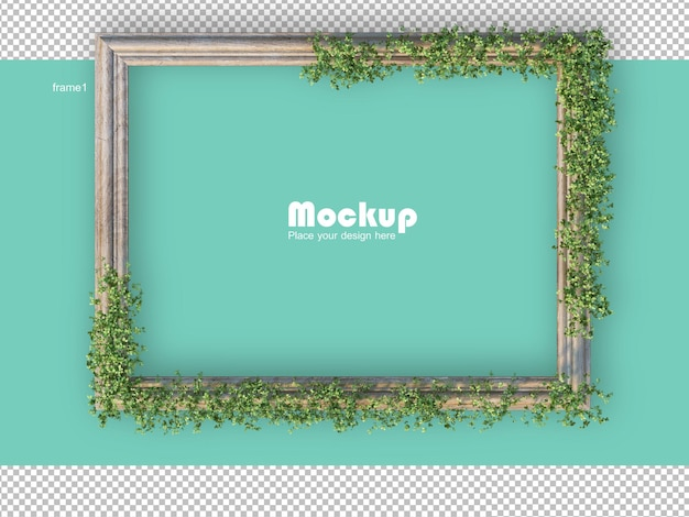 3d-рендеринг небольшой елки с рамками для картин