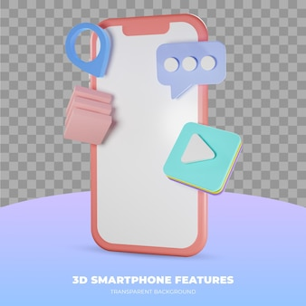 3d rendering of smartphone isolated