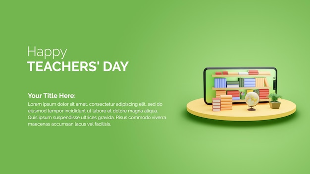 3d rendering smartphone with bookshelf happy teachers day wishes post