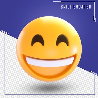 3d rendering of smile emoji isolated