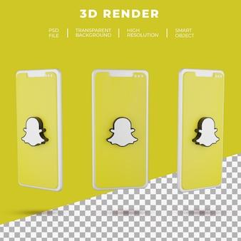 고립 된 스마트 폰의 3d 렌더링 snapchat 로고