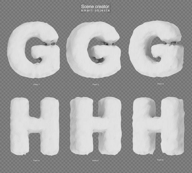 3d rendering of snow alphabet g and alphabet h