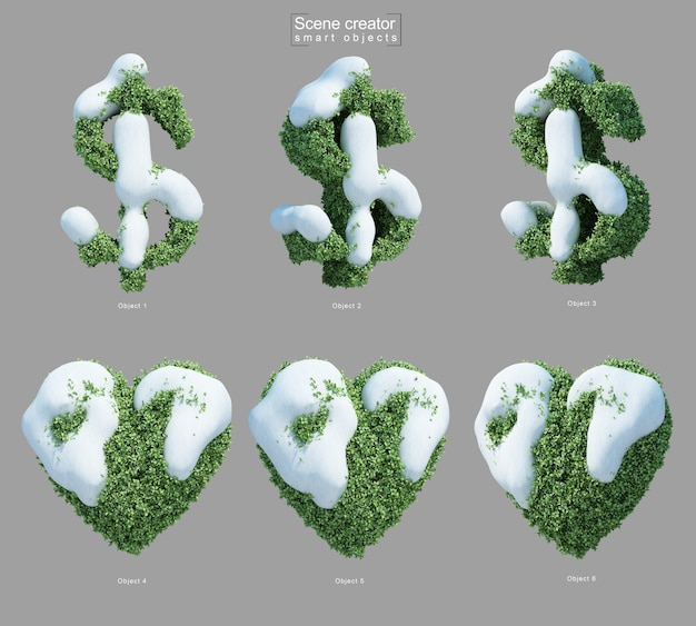 3d rendering of snow on bushes in shape of dollar symbol and heart