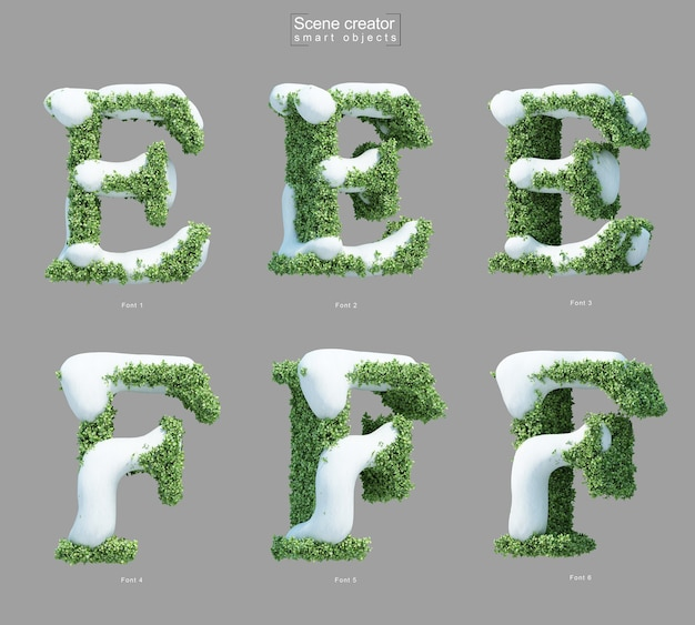 3d rendering of snow on bushes in shape of letter e and letter f scene creator