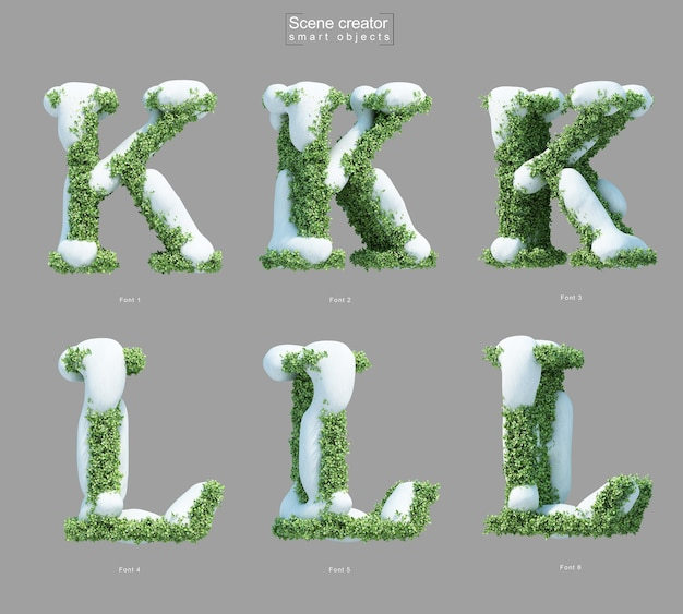 3d rendering of snow on bushes in shape of letter k and letter l scene creator