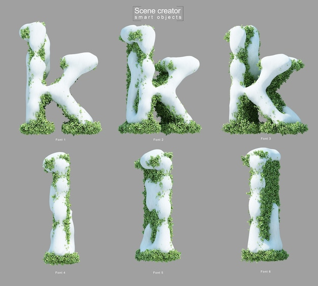 3d rendering of snow on bushes in shape of letter k and letter l