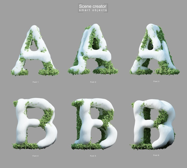 3d rendering of snow on bushes in shape of letter a and letter b scene creator