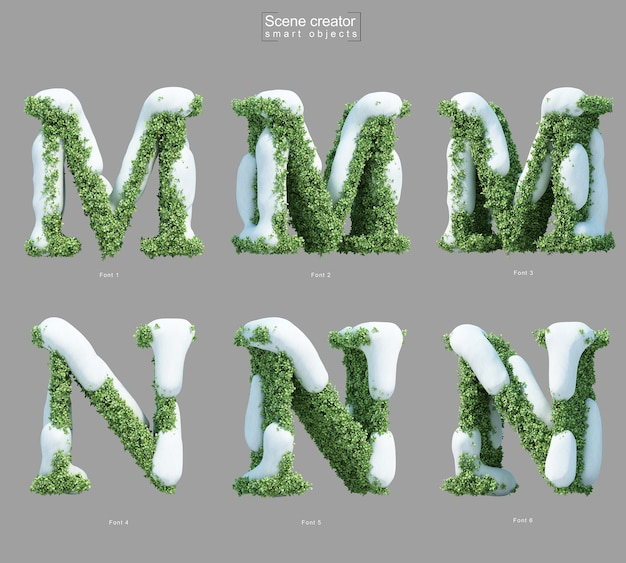 3d rendering of snow on bushes in shape of letter m and letter n scene creator