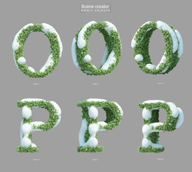 3d rendering of snow on bushes in shape of letter o and letter p scene creator
